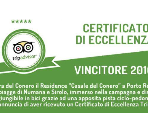 Certificato di Eccellenza TripAdvisor Casale del Conero