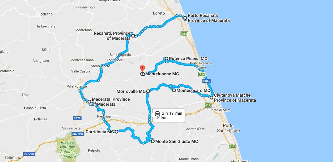 Itinerario in camper - da Porto Recanati a Montelupone ( 101 Km)